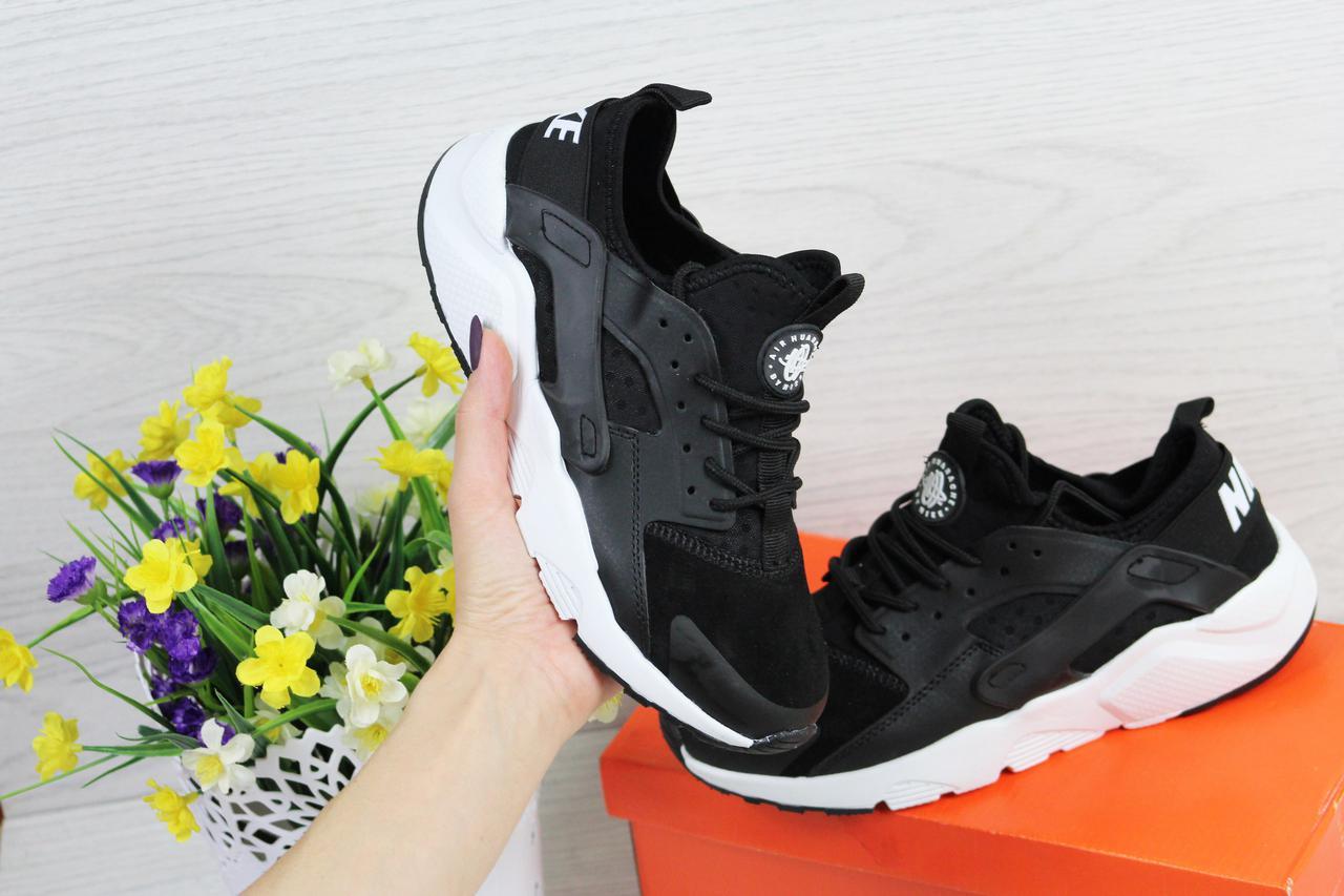 d2a03c41 Кроссовки NIKE AIR huarachi женские черные на белой подошве в фирменной  коробке (Реплика ААА+