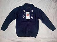 Кофта вязаная для девочки 4-8 лет на змейке синего цвета с карманами оптом