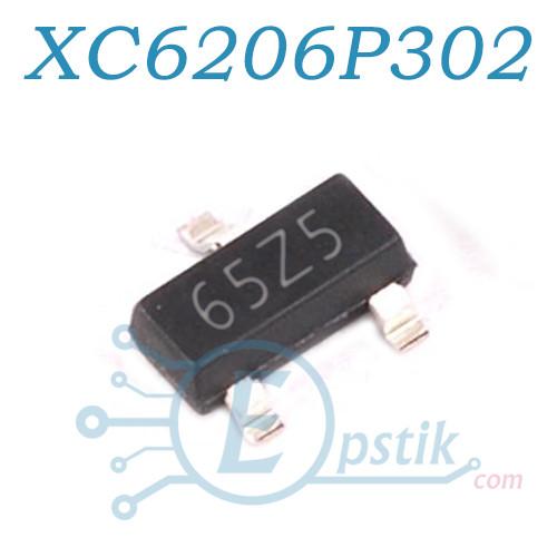 XC6206P302MR (65Z5), Стабилизатор напряжения, 3.0V  200мА, SOT23