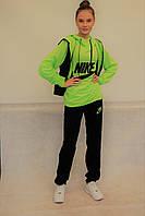 """Женский спортивный костюм """"тройка"""" Nike (400) салатово-черный код 795А"""