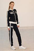 Женский спортивный костюм Reebok (8010) тёмно-синий с белым код 928А
