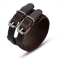 Кожаный браслет коричневый с широким манжетом