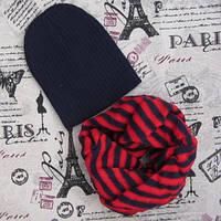 Демисезонный вязанный набор: шапка темно синяя и хомут