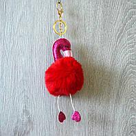 "Меховой брелок на сумку ""Фламинго"", опт"