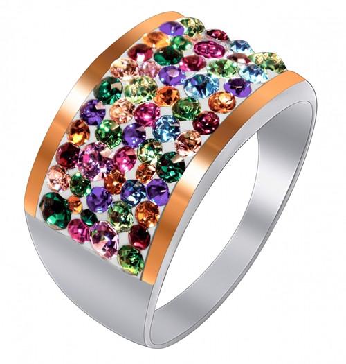 Кольцо из серебра с кристаллами SWAROVSKI (Россыпь)