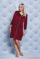 Жіночий велюровий халат з кружевом.Р-ри 42-58, фото 1