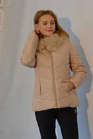 Женская куртка демисезонная бежевая Х 831 мех отстегивается код 648А