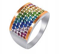 Кольцо из серебра с кристаллами SWAROVSKI (радуга)