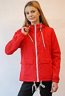 Женская демисезонная двухсторонняя куртка Remain 7568 красная-серая код 026А