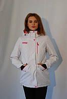 Женская горнолыжная куртка Azimuth 9281-42 бело-малиновая код 038А