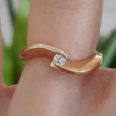 Золоте кільце з одним каменем - Кільце для заручин золото - Кільце для пропозиції золото