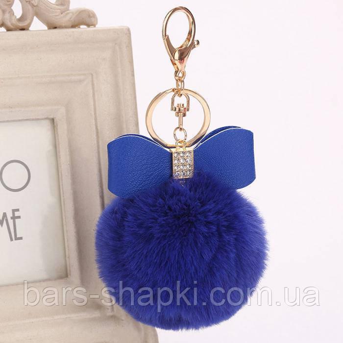 Оригинальный брелок с бантиком, мех искусственный, цвет синий