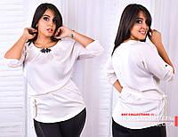 Блузка женская из шелка Армани+брошка, синий, белый, р-ры 50,52,54( склад)