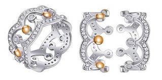 """Двойное кольцо из серебра """"Корона"""""""