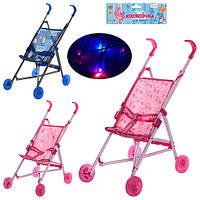 Кукольная коляска металлическая, трость, колеса светящиеся, 3 цвета, в кульке