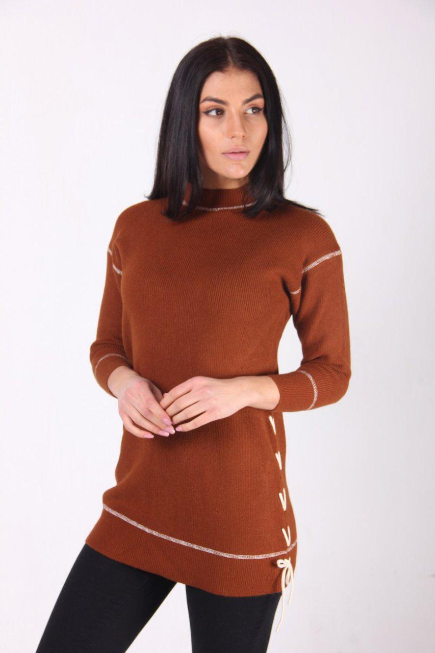 2beee51d1e60 Длинная женская кофта с белыми швами коричневая