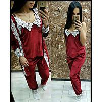 Халат +пижама женская Бархат красная