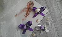 Бутоньєрка для гостей в фіолетових кольорах