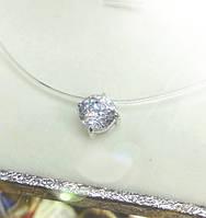 Камушек на леске, колье (чекер) ,невидимка серебро с одним крупным фианииом закрепленным в серебряную огранку.