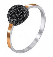 Кольцо из серебра с цирконием (черный)