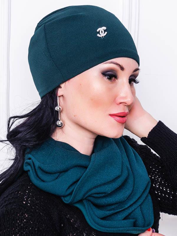 Модная шапка - ЛЮСИ - изумрудный