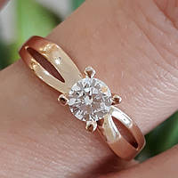 Классическое золотое кольцо с 1 камнем - Кольцо для помолвки золото - Кольцо  для предложения золото 5a2b8c34f424b