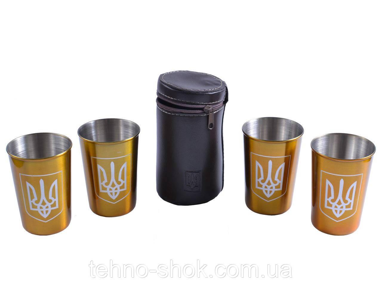 """Походные рюмки из нержавеющей стали в чехле """"Украина"""" (Золото, 4 шт,150мл)"""