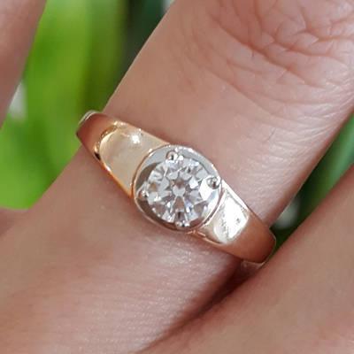 Золоте кільце з 1 каменем - Кільце для заручин золото - Кільце для пропозиції золото