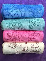 Зайцы и другие узоры микровелюр впитывает 100% 20 шт в уп. Размер 25х50  кухонное полотенце оптом большой опт