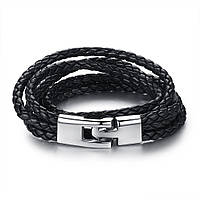 Кожаный браслет из трех косичек черный