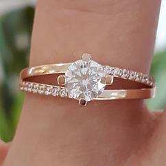 Каблучка на заручини золото - Золотое кольцо с одним камнем - Кольцо для помолвки золото 17