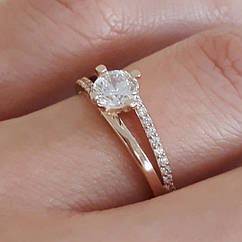 Каблучка на заручини золото - Золотое кольцо с одним камнем - Кольцо для помолвки золото 17.5