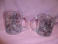 Чашка стеклянная с видами города Днепр черно-белый 300мл 9,5х7,5см