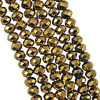 Бусины под Хрусталь Золотые зеркальные Рондель 8 мм 72 шт/нить