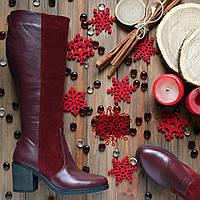Женские кожаные сапоги на невысоком каблуке. Модель  есть  в зимнем и демисезонном варианте