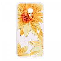 Накладка для Meizu M5 Note силікон TPU soft touch Жовті ромашки