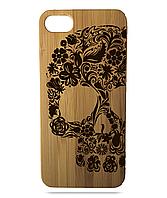 """Дерев'яний чохол  Wooden Cases для Apple iPhone 6/6s з лазерним гравіюванням """"Flower Skull"""""""