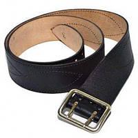 Ремень офицерский кожаный черный, никелированная пряжка, размер №5 (145 см)