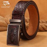 Ремень мужской классический кожаный Dinisiton  с пряжкой автомат под крокодила (коричневый)