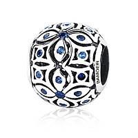 """Шарм Pandora Style (стиль Пандора) """"Орнамент со вставками из синих камней"""""""