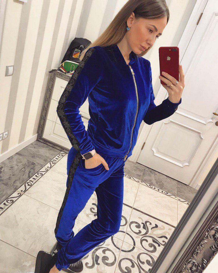 Шикарный велюровый костюм Эмилия электрик