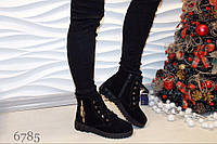 Зимние ботинки натуральная замша, мех ПШ, с замком