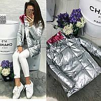 Куртка короткая серебряно-розовая 74- 1001