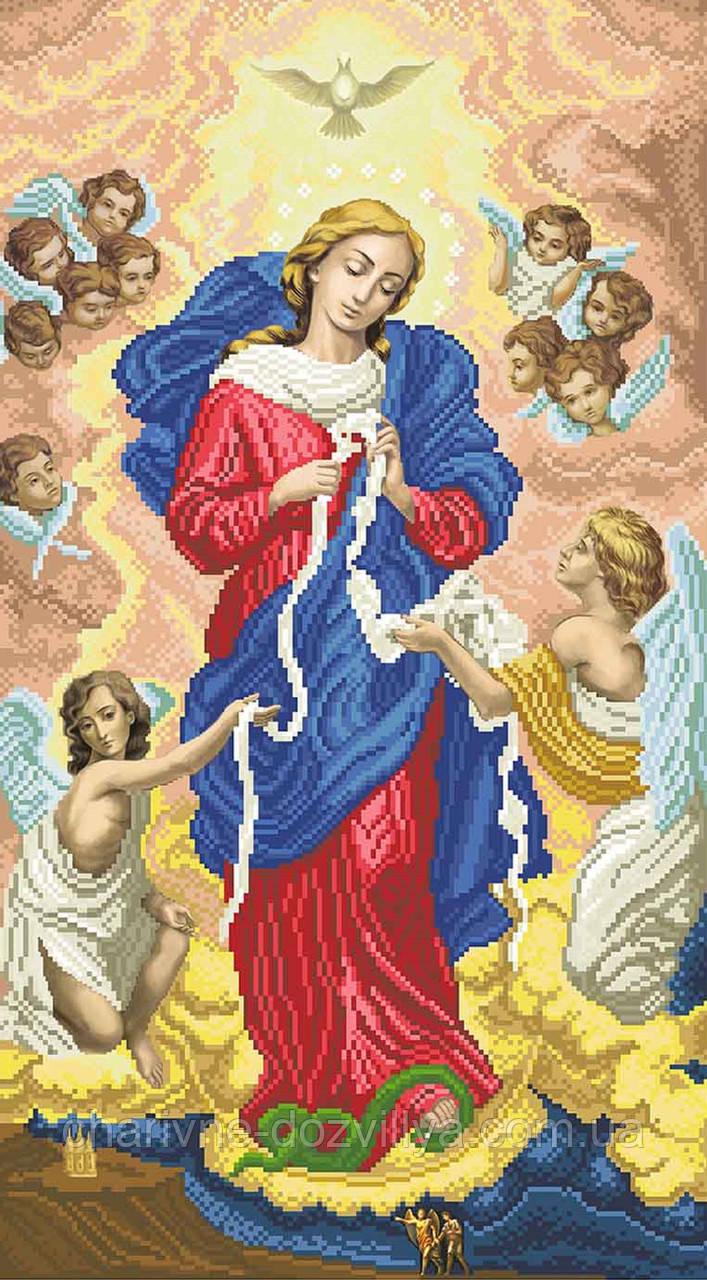 """Схема для вишивки бісером на атласі ікона """"Богородиця, що розв'язує вузли"""" великий розмір (63х112)см"""