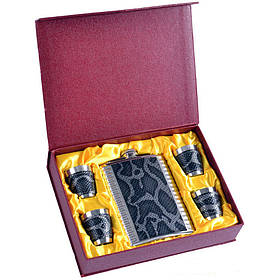 Подарунковий набір GT-18 фляга з чарками Шкіра