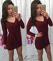 Теплое платье короткое Ангора с поясом Арт. 732АР