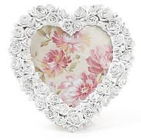 """Рамка для фото """"Сердце из роз"""" белая 20х20х3 см"""