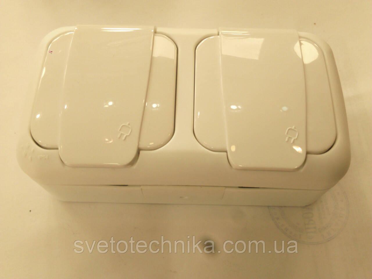 Розетка Palmiye двойная с заземлением  IP64  (серого цвета)