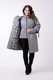 Женская модная куртка-пальто двойка 624 / размер 50,54,58 / большие размеры