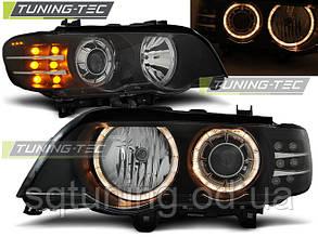 Фары BMW X5 E53 09.99-10.03 ANGEL EYES BLACK LED INDICATOR XENON